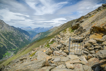 Wall Mural - Security on walking trail in Swiss Alps
