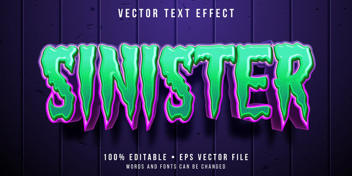 Editable text effect - spooky sinister style