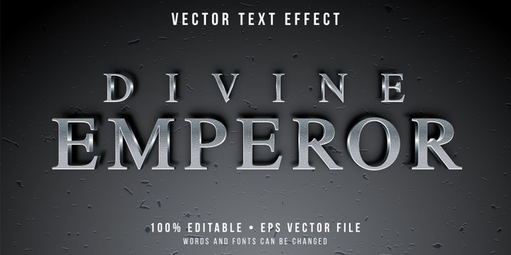 Editable text effect - textured silver style