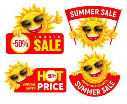 Set Of Cheerful Cartoon Sun Characters Which Announce Summer Sale