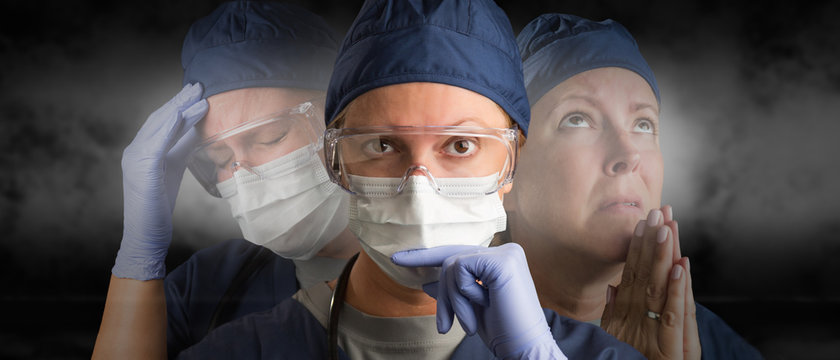 Female Doctor or Nurse Wearing PPE Crying, Praying and Facing Forward