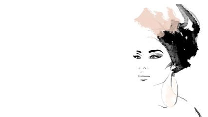 African American illustration for fashion banner. Trendy woman model background. Afro hair style girl  Wall mural