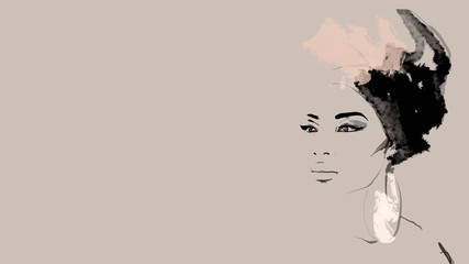 Portrait beautiful African woman in traditional turban. Painting head wrap Afro hair. black afro woman silhouette isolated with traditional ethnic empty background, hairstyle concept