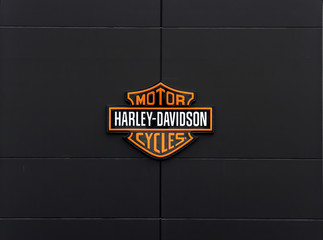 Ingolstadt, Germany: Harley-Davidson sign and logo. Harley-Davidson, Inc. is an American motorcycle manufacturer.