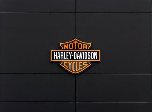 Ingolstadt, Germany: Harley-Davidson sign and logo. Harley-Davidson, Inc. is an American motorcycle manufacturer.