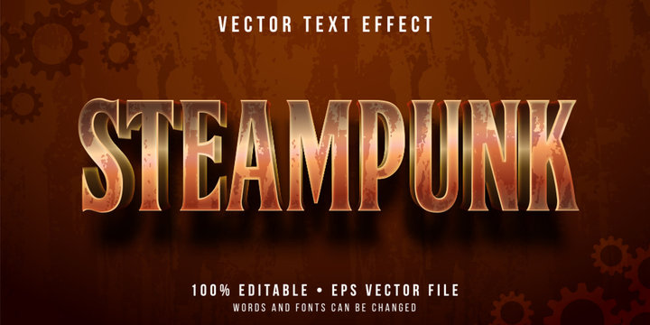 Editable text effect - steampunk metal style