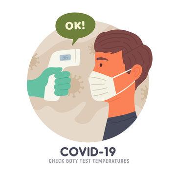 Body temperature check before entry. Non-contact thermometer. COVID-19. Coronavirus. Vector illustration
