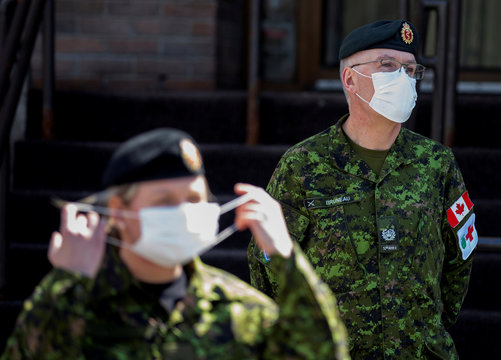 Canadian Armed Forces medical personnel arrive to assess and liason at seniors' long-term care centre in Montreal