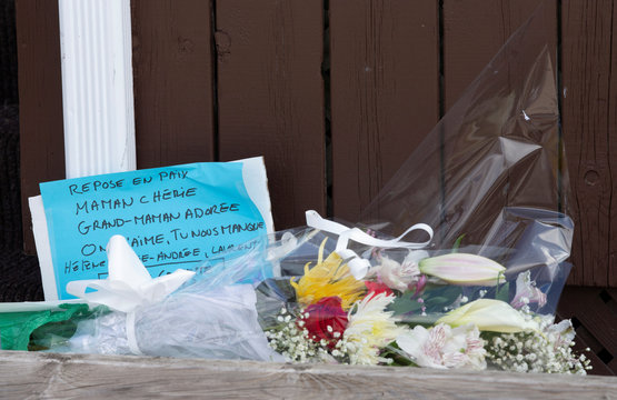 Flowers are placed outside a seniors' long-term care centre in Montreal