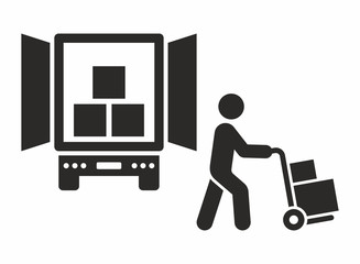 Delivery icon. Worker unloading boxes from truck. Vector icon isolated on white background.