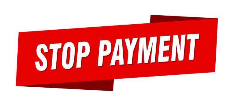 stop payment banner template. stop payment ribbon label sign
