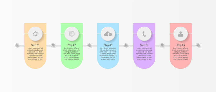 Business infographic time line with logo on header, Flowchart Template