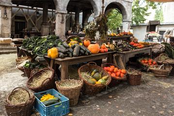 Rural old vegetable market, reconstruction
