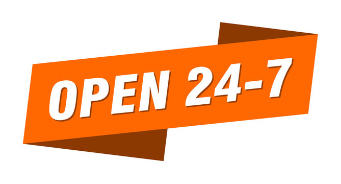 open 24 7 banner template. open 24 7 ribbon label sign