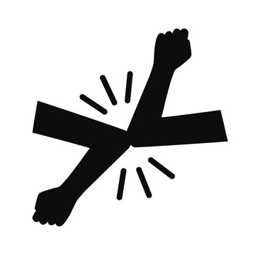 Elbow bump icon. New novel greeting to avoid the spread of coronavirus. Two friends meet with bare hands. Instead of greeting with a hug or handshake, they bump elbows instead - vector