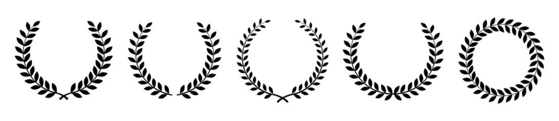Laurel wreath of victory icon. Set black silhouette circular laurel foliate, wheat and oak wreaths depicting an award, achievement, heraldry, nobility. Emblem floral greek branch flat style
