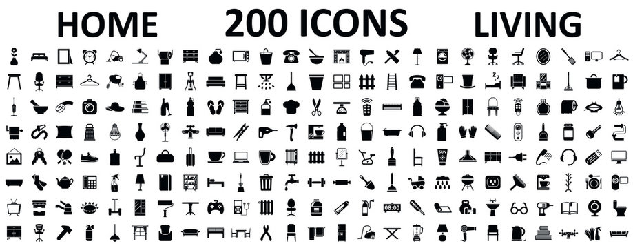 Set 200 icons of home living, furniture, house décor, bathroom, bedroom, garage and many more – stock vector