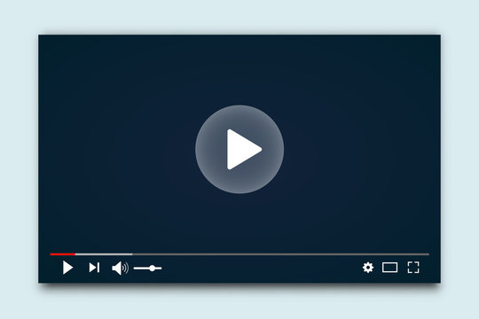 Desktop web video player. Multimedia player social media, play video online window with navigation icons, modern social media video player interface template for web and mobile apps – for stock vector