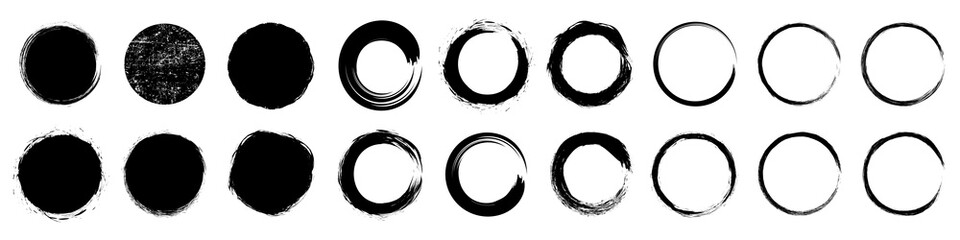 Set different circle brush strokes, hand drawn paint brush circle logo frame – for stock Fototapete