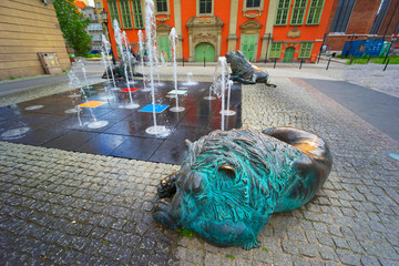 Wall Mural - Fountain sea city of Gdansk