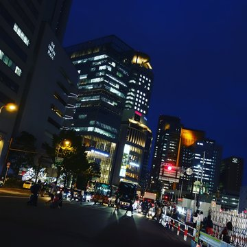 Low Angle View Of City Street At Night