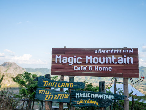 PHAYAO, THAILAND -JANUARY,1 2020: Magic Mountain is Landmark famous coffee shop at Pha Chang Noi sub district, Pong district, Phayao province, Thailand.Holiday travel picnic winter season.Editorial