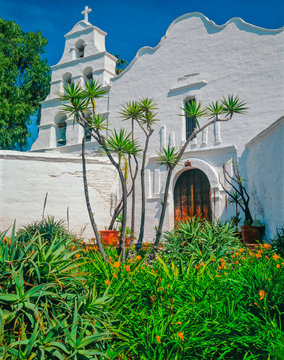 Mission  San Diego de Alcala is surrounded by greenery in San Diego, California