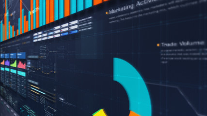 Wall Mural - Business stock market, trading, info graphic with animated graphs, charts and data numbers insight analysis to be shown on monitor display screen for business meeting mock up theme