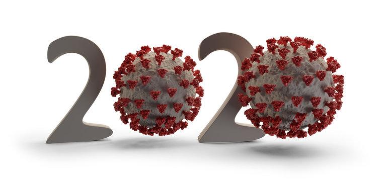 year 2020 Coronavirus COVID19 virus concept 3d-illustration