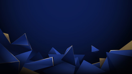 Wall Mural - Abstract 3d low poly pattern luxury dark blue with gold