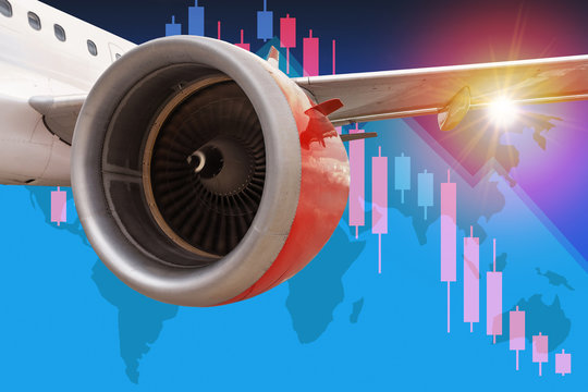 Aviation Industry in Crisis With Business Chart background
