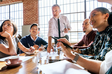 Diverse business team in a meeting