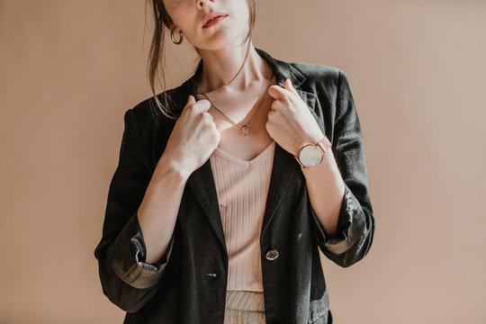 Woman wearing a black blazer