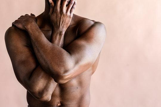 Black man stretching