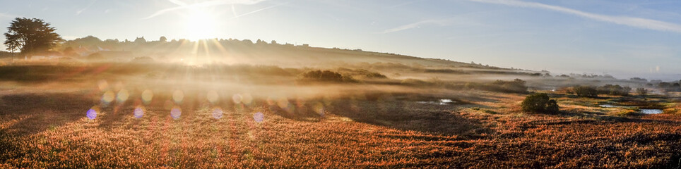 Foto auf Gartenposter Rosa dunkel Sunlight Streaming On Countryside Landscape