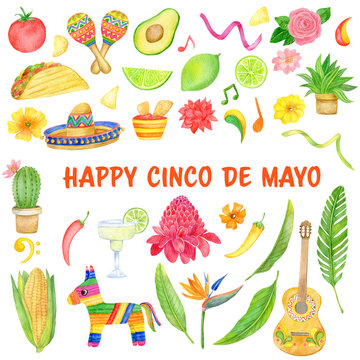 Watercolor set with Cinco de Mayo celebration in Mexico, icons set, design element. Collection objects for Cinco de Mayo parade with pinata, food, sambrero, cactus, guitar, flowers. Hand drawn
