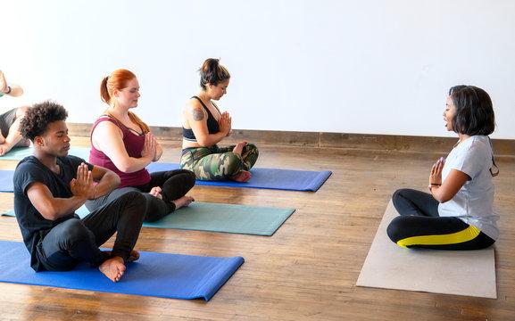 Beginning of yoga class
