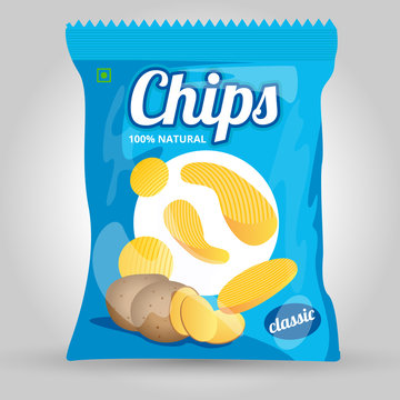 Vector illustrations of potato chips packaging template design
