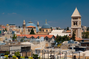 Jerusalem skyline with clock towers and domes