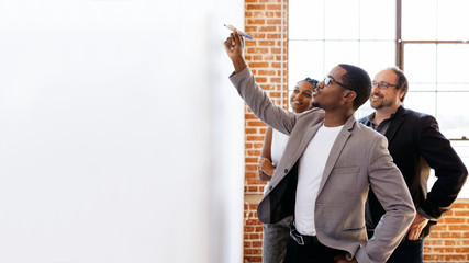 Team writing on a board