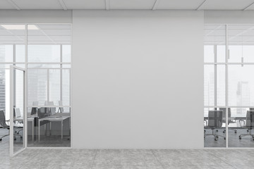 Photo sur Toile Mur White open space office corridor with mock up wall