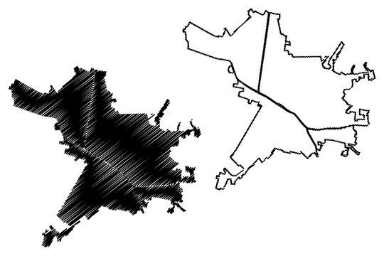 Ferrara City (Italian Republic, Italy, Emilia-Romagna) map vector illustration, scribble sketch City of Ferrara amap