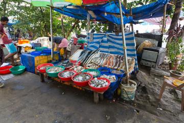 Kochi, Kerala - December 30, 2019: Fish market near the chinese fishing nets in fort kochi, kerala india