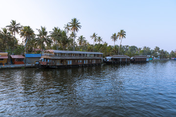 Alleppey, Kerala - January 6, 2019: house boats parked in alleppey backwaters kerala india