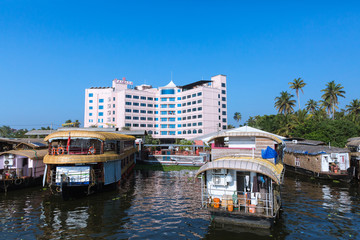 Alleppey, Kerala - January 7, 2019: house boats parked at starting point in alleppey backwaters kerala india