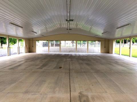 Pavillion exhibit outdoor space with concrete floor white