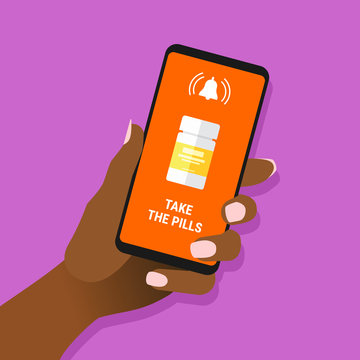 African female hand hold smartphone with take the pills message and drugs on screen. Afro-american woman showing cell phone with notification. Health therapy concept. Vector EPS8 illustration.
