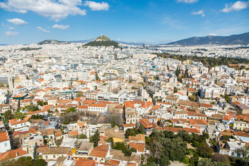 Printed roller blinds Athens Cityscape of Athens and Lycabettus Hill in the background, Athens, Greece.