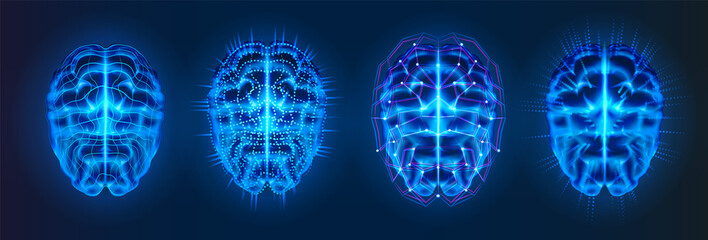 Set of isolated blue glowing brains with neural connection lines. AI or artificial intelligence, machine learning or cyber mind logo. Bionic human brain or cybermind,cyberbrain.Future neuro technology Wall mural
