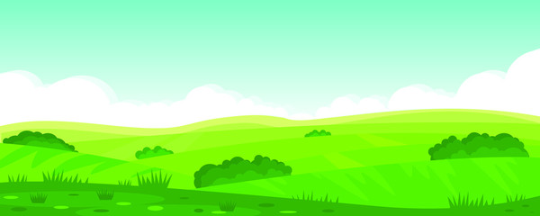 Wall Murals Pool Vector illustration of beautiful summer fields landscape, green hills, bright color blue sky, country. Background in flat cartoon style, banner.